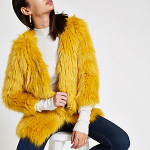 Yellow faux fur knit coat