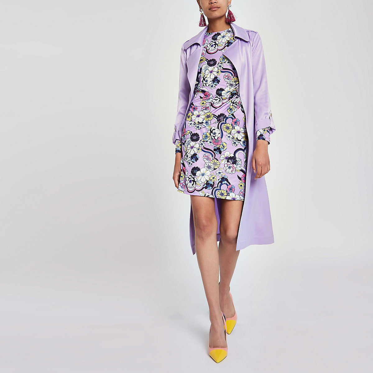 Purple ruched floral bodycon dress