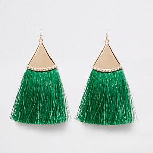 Pendants d'oreilles à pampilles vertes