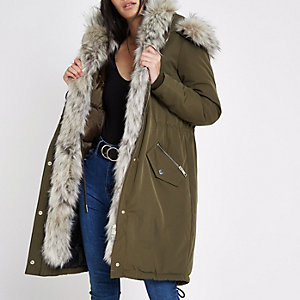 Khaki faux fur trim hooded parka