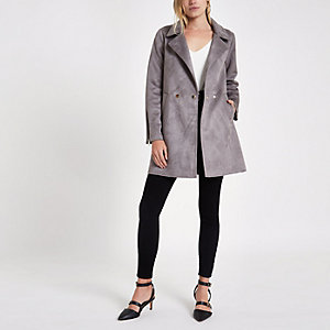 Grey faux suede swing coat