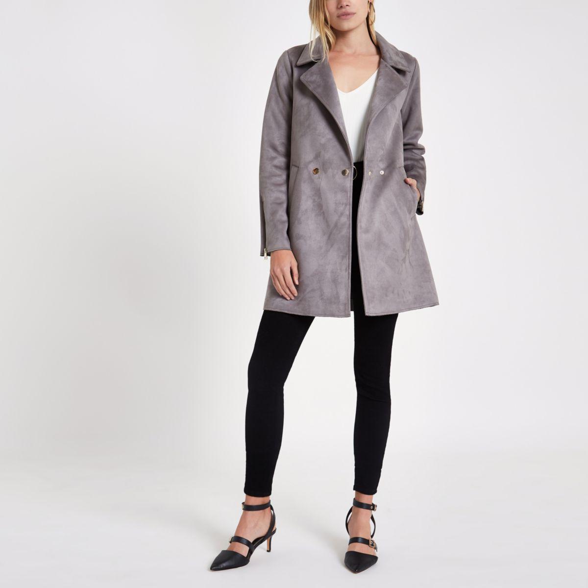 Grey faux suede swing coat