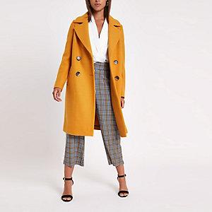 Manteau croisé en laine jaune