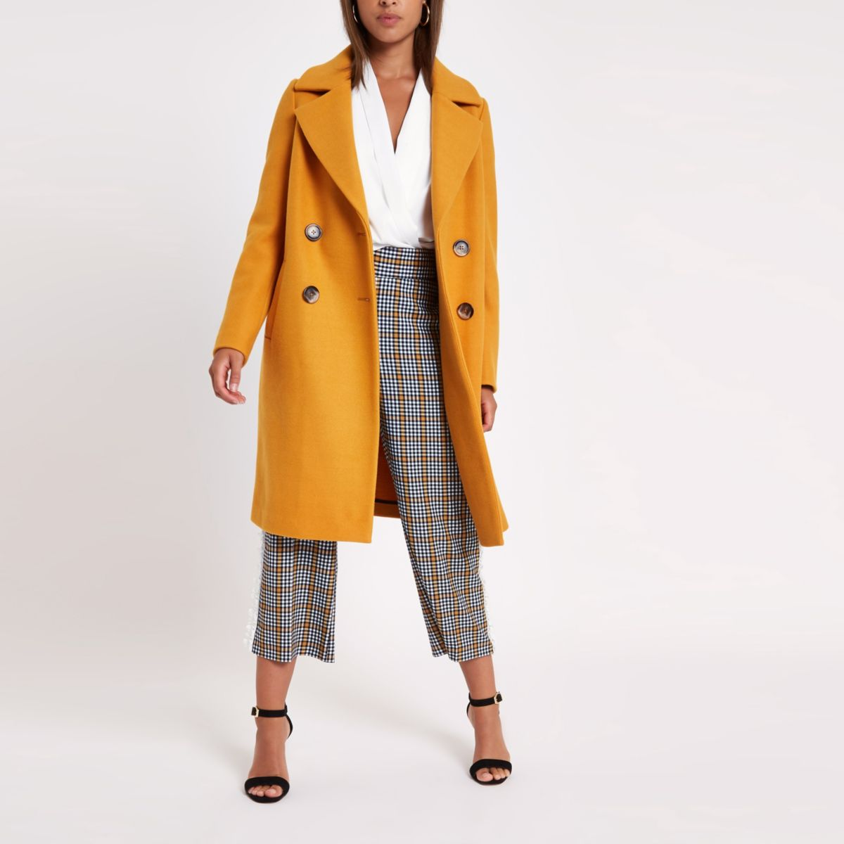 Yellow wool double breasted coat