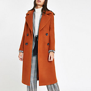 Manteau long croisé marron