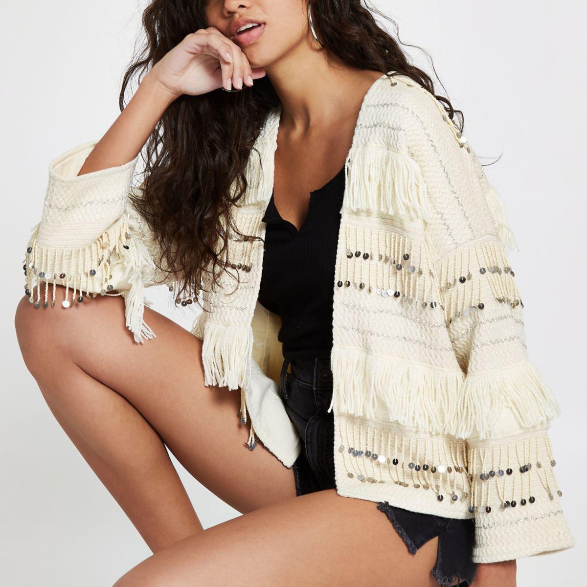 Cream sequin fringe trophy jacket