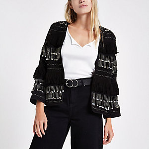 Black sequin fringe trophy jacket