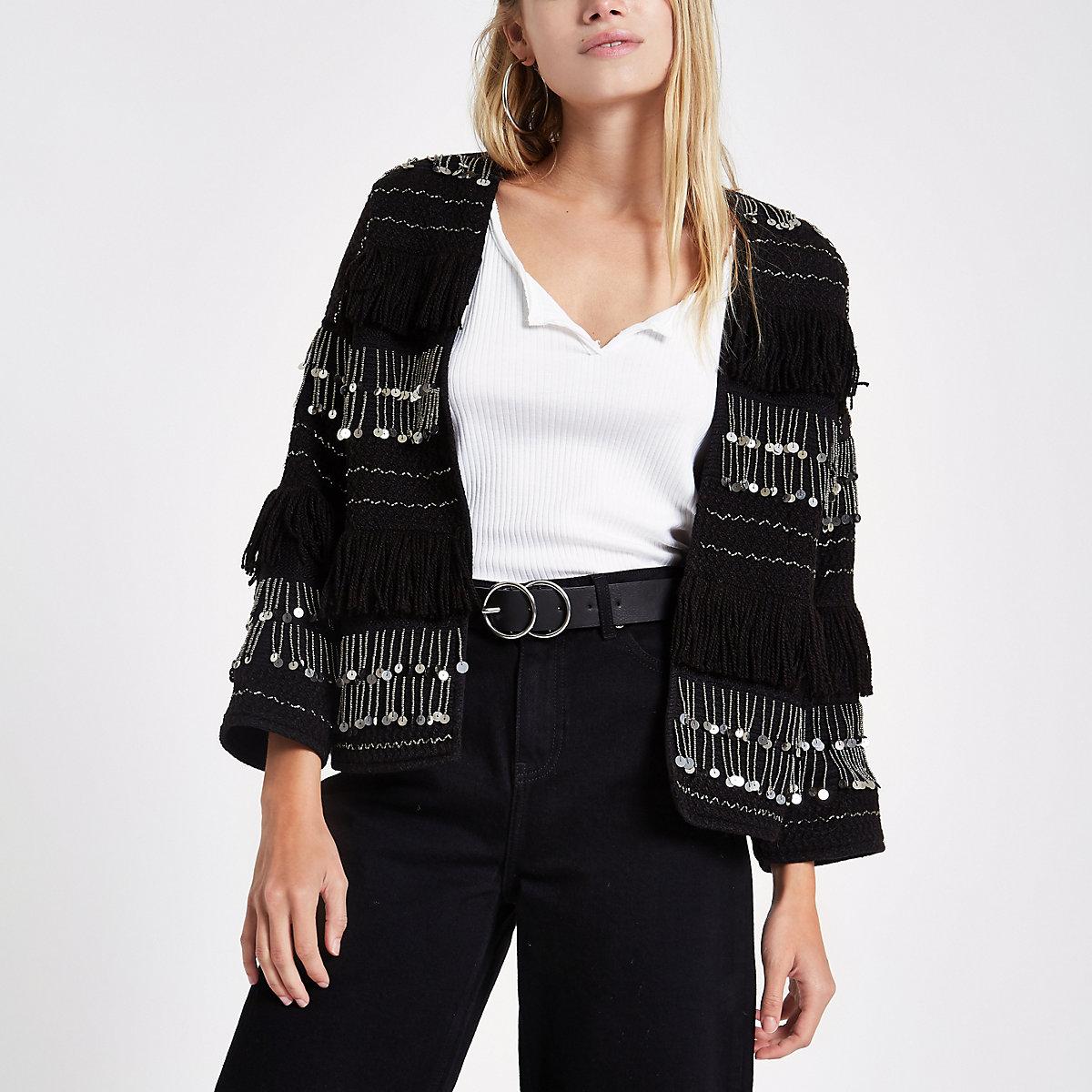 Black sequin fringe trophy jacket