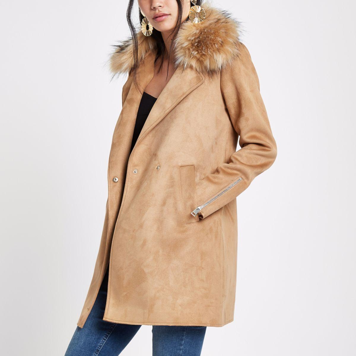 Brown faux fur collar swing coat
