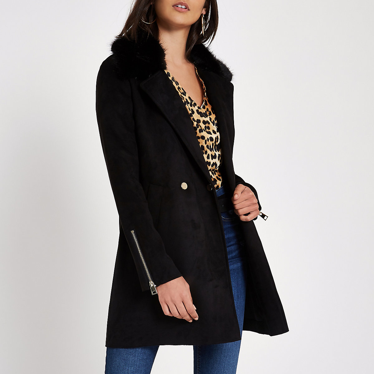 Black faux fur collar swing coat
