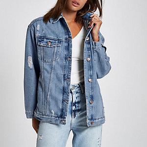 Mid blue premium oversized denim jacket