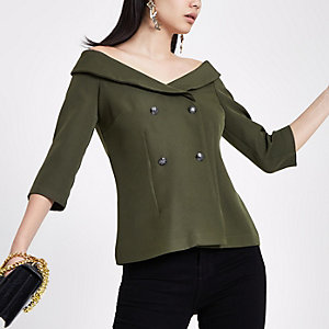 Khaki double breasted bardot top