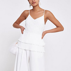 Cream broderie tiered lace cami top