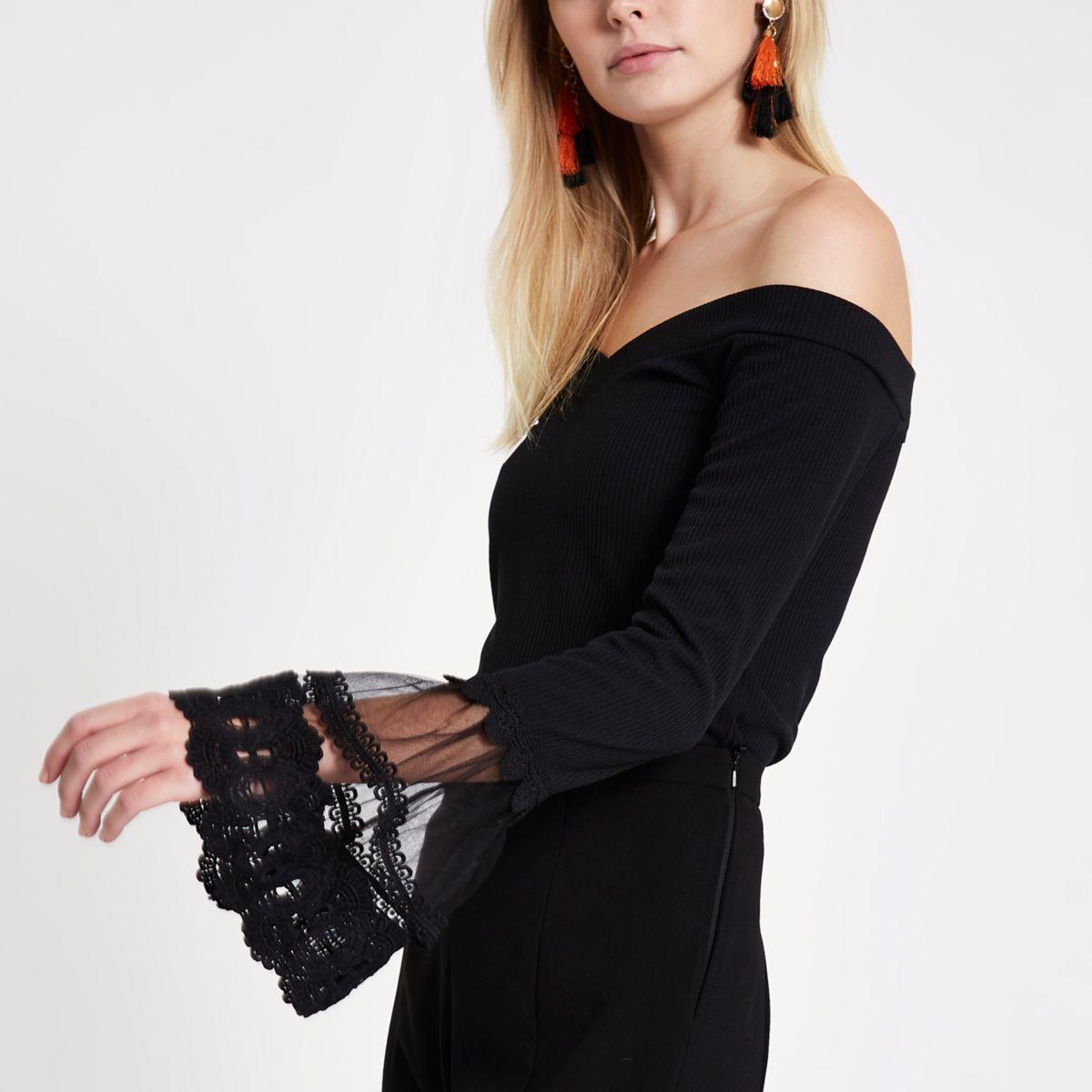 Black lace long sleeve rib bardot top
