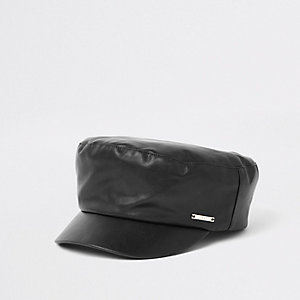 Black faux leather baker boy hat
