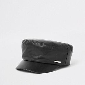 Schwarze Ballonmütze aus Lederimitat