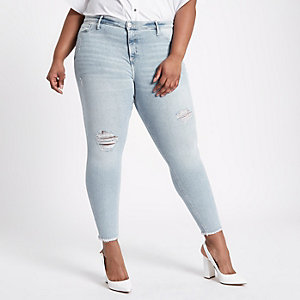 RI Plus - Molly - Lichtblauwe skinny ripped jeans
