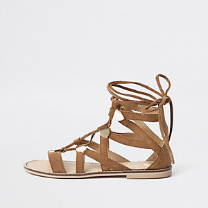 Brown suede caged tie up sandals