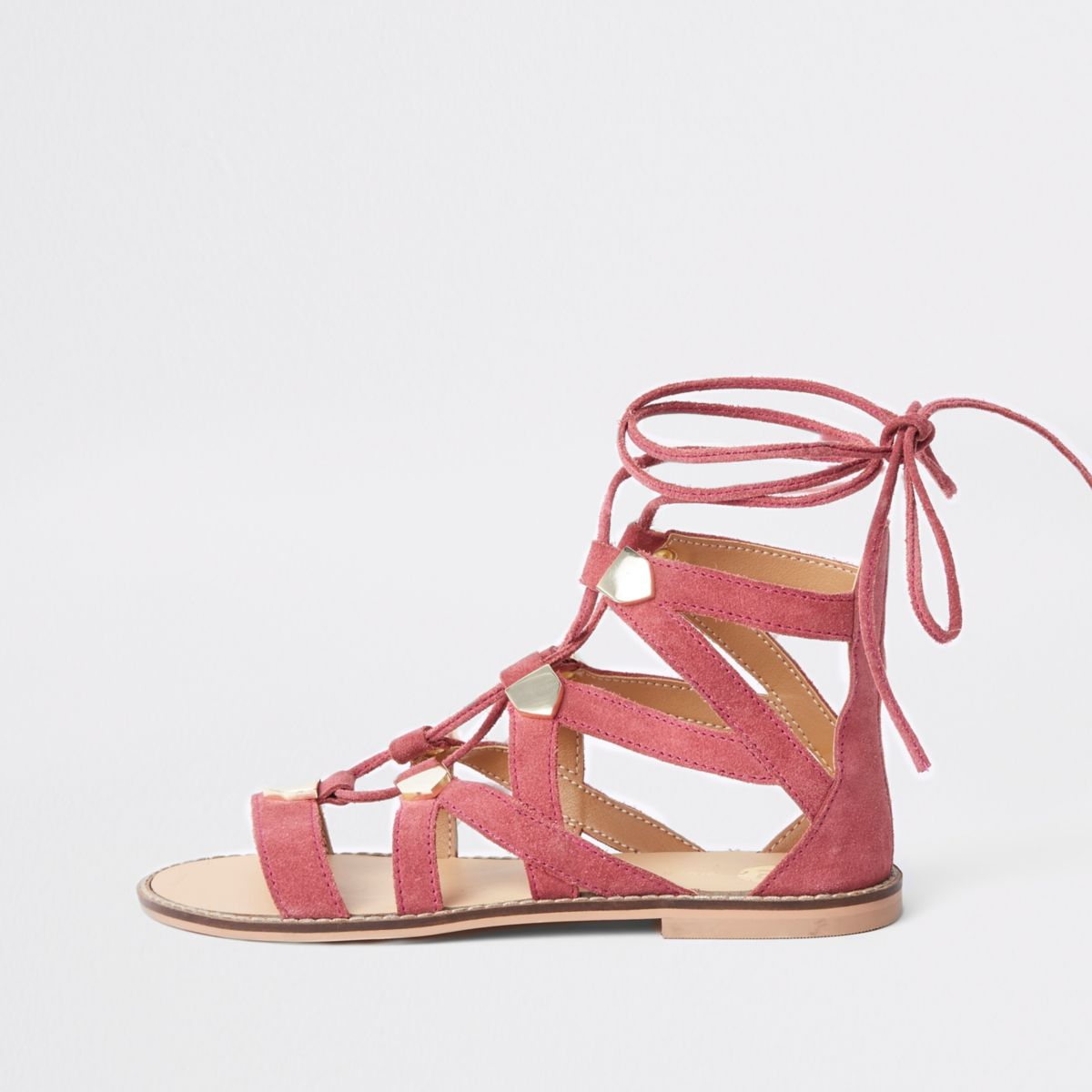 8f8547150dd Shoptagr | Pink Suede Caged Tie Up Sandal by River Island