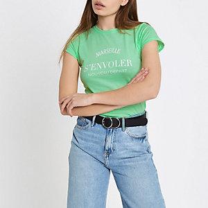 Mintgroen aansluitend T-shirt met 'Marseille'-print