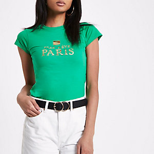 T-shirt ajusté «Elle Rêve Paris» vert