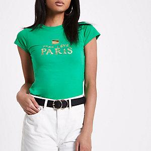 Groen aansluitend T-shirt met 'Elle Reve Paris'-print