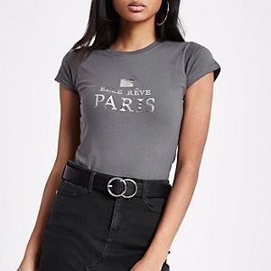 T-shirt ajusté «Elle Rêve Paris» gris