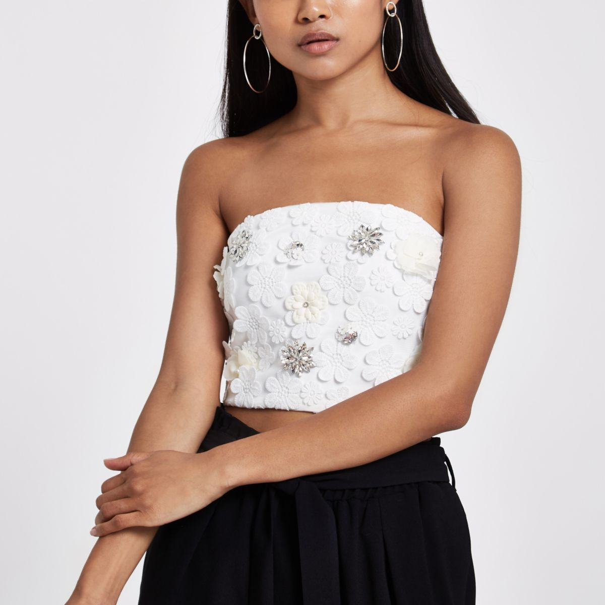 Petite White Floral Embellished Bandeau Top by River Island