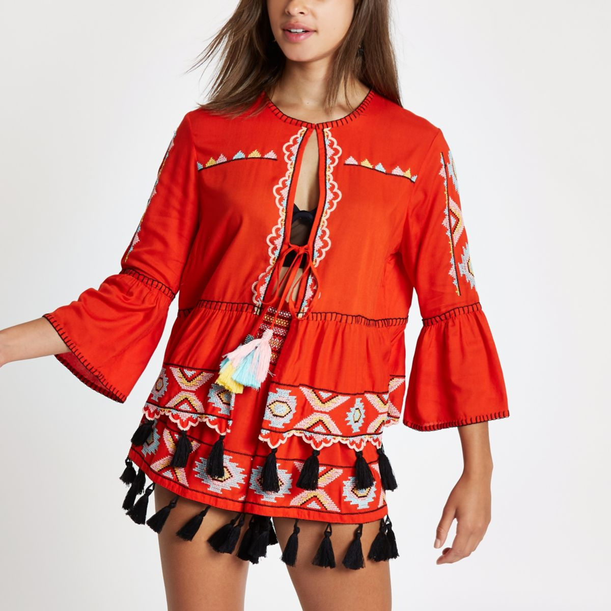 Red embroidered tassel caftan jacket