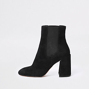 Black square toe block heel boots