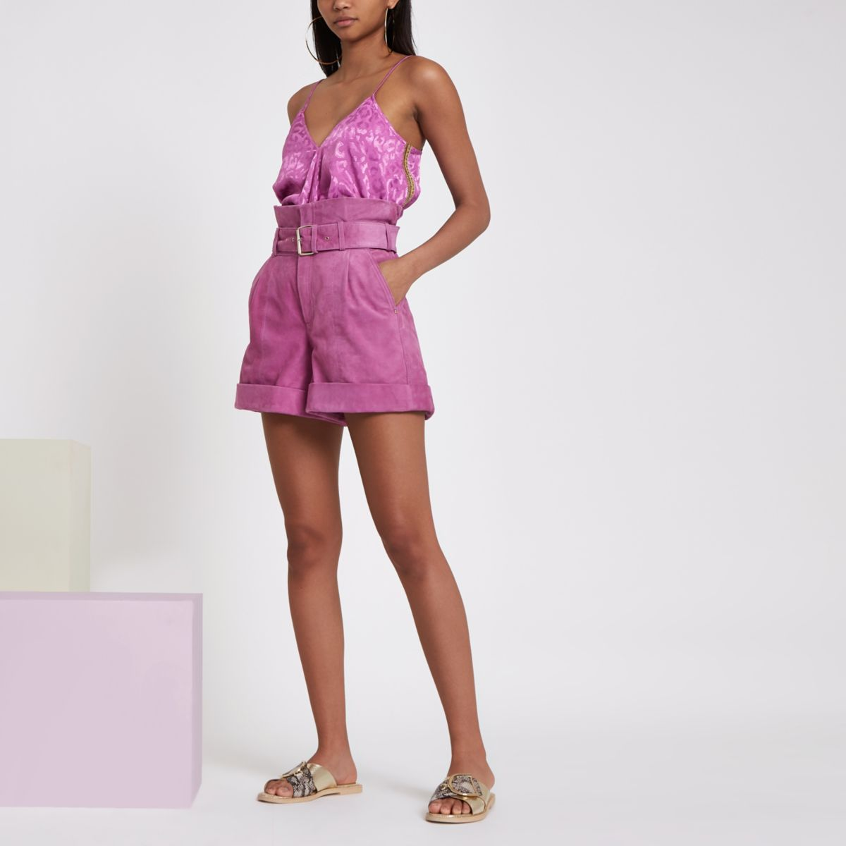 RI Studio purple paperwag waist suede shorts