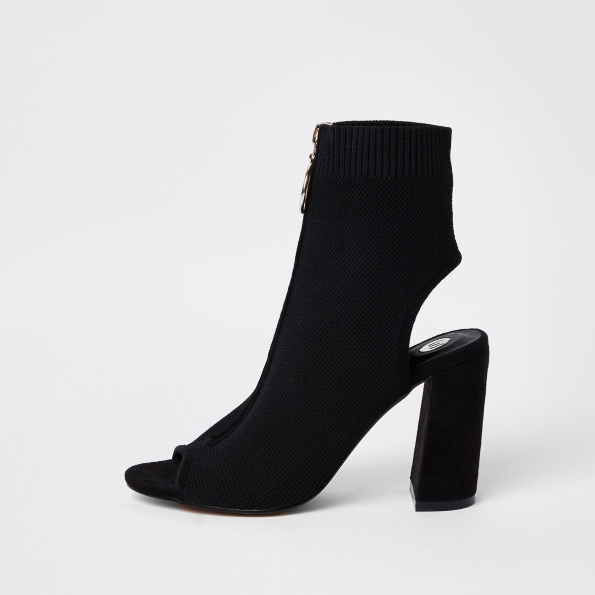 Black knit zip front shoe boots