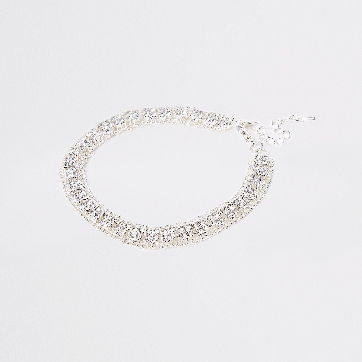 Silver colour square diamante cupchain anklet