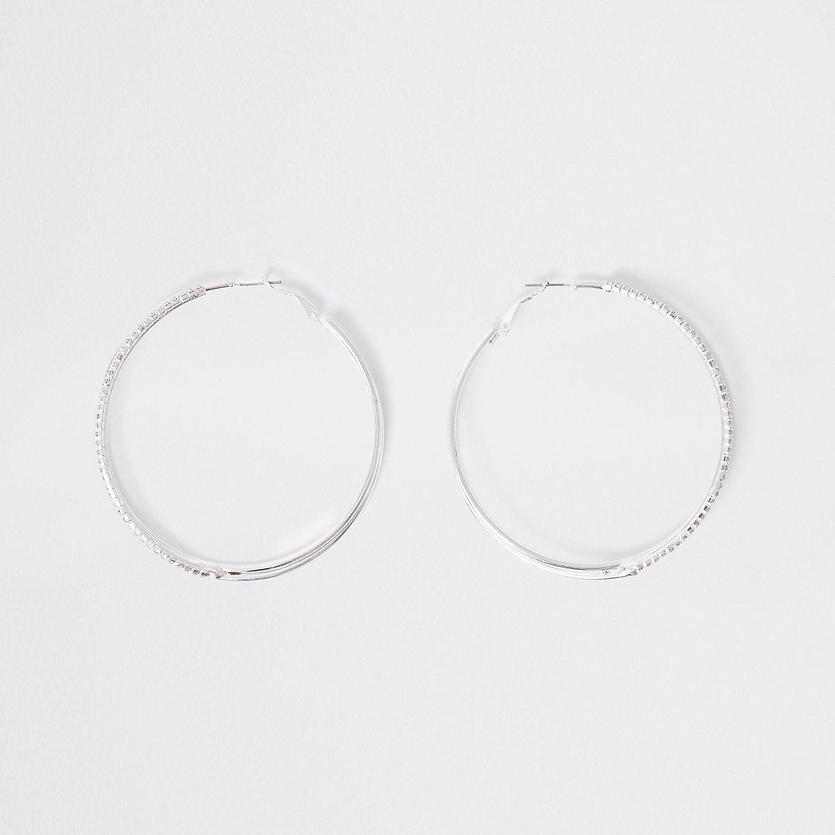 Silver diamante embellished hoop earrings