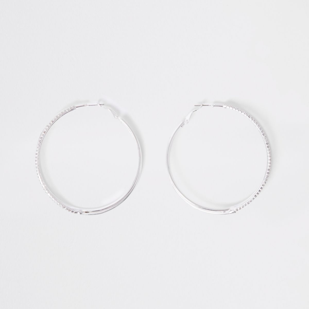 Silver diamante embellished hoop earrings