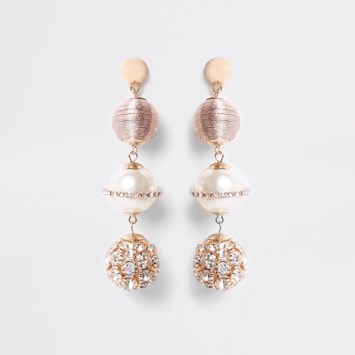 Pink rhinestone wrapped globe drop earrings