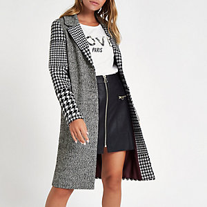 Petite grey check longline coat