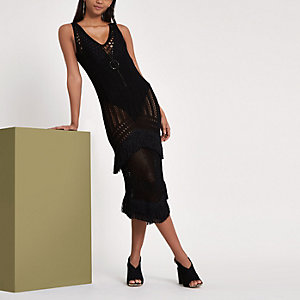 RI Studio - Zwarte gehaakte midi-jurk met franje