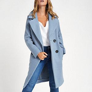 Petite – Langer, zweireihiger Mantel in Blau