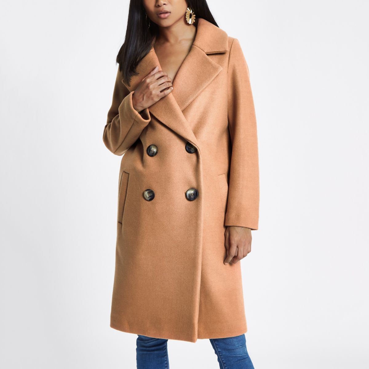 Petite beige long double breasted coat