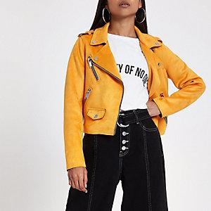 Petite – Perfecto en suédine orange