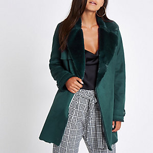 Petite dark green faux fur fallaway jacket