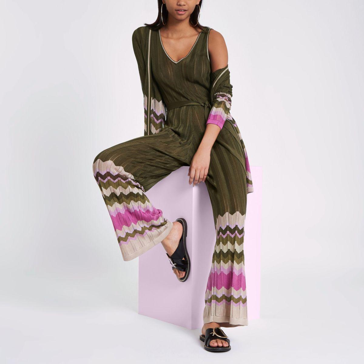RI Studio khaki stripe knit wide leg jumpsuit