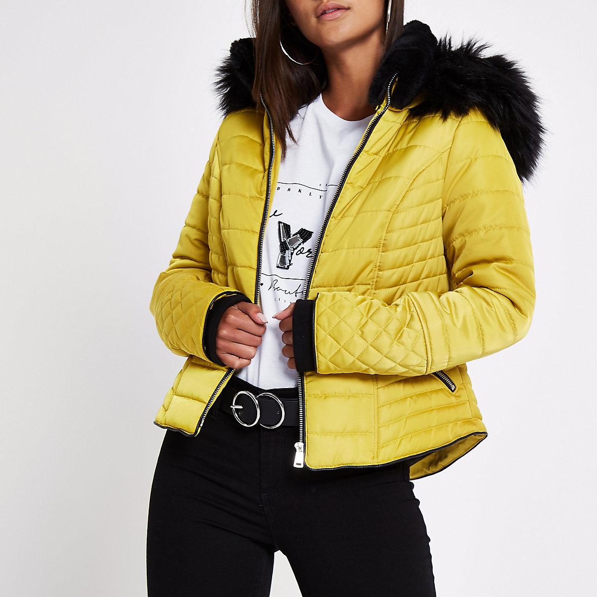 Petite yellow faux fur hood padded coat