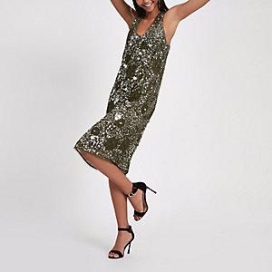RI Studio – Paillettenverziertes Kleid in Khaki