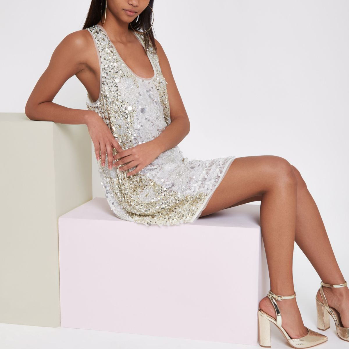 RI Studio white sequin embellished dress