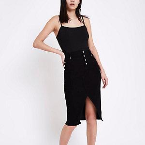 Zwarte denim kokerrok met corsetsluiting