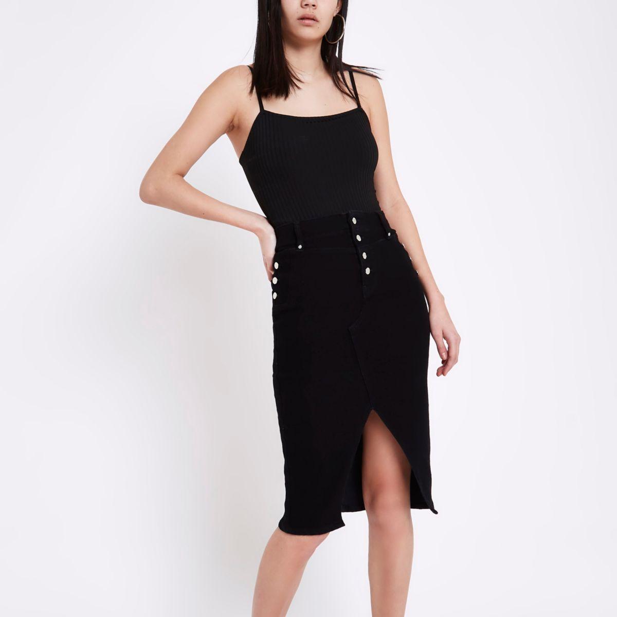 Black corset pencil denim skirt