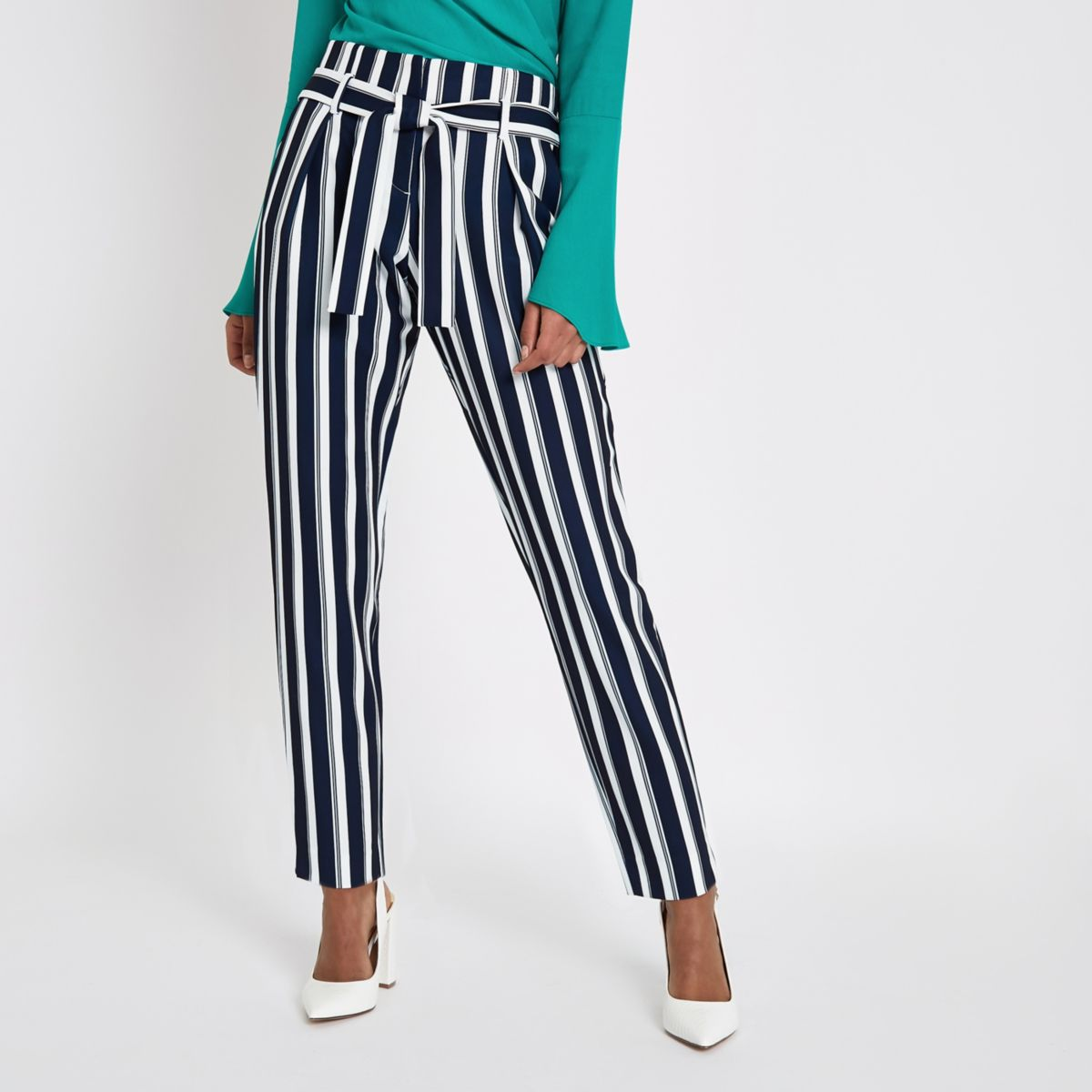 Navy Stripe Tie Waist Tapered Pants by River Island