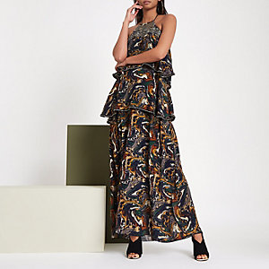 RI studio khaki sequin embellished maxi dress